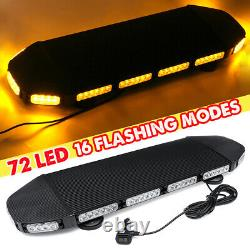 216W 72 LED Emergency Beacon Light Bar Warning Truck Tow Roof Top Strobe Amber