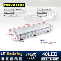 22 INCH 40 LED Strobe Lights Emergency Beacon Warning Tow Truck Roof Top White
