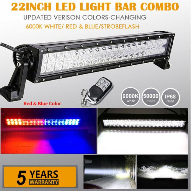 22inch Dual Colors White/red Blue/strobe Led Light Bar Offroad Emergency Driving