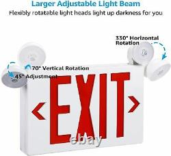 2PCS UL-Listed Emergency Light-Red LED Exit Sign Dual Lamp ABS Fire Resistance