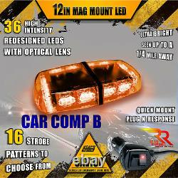 36 LED Light Bar Top Oval Magnetic Hazard Roof Emergency Strobe Amber Yellow