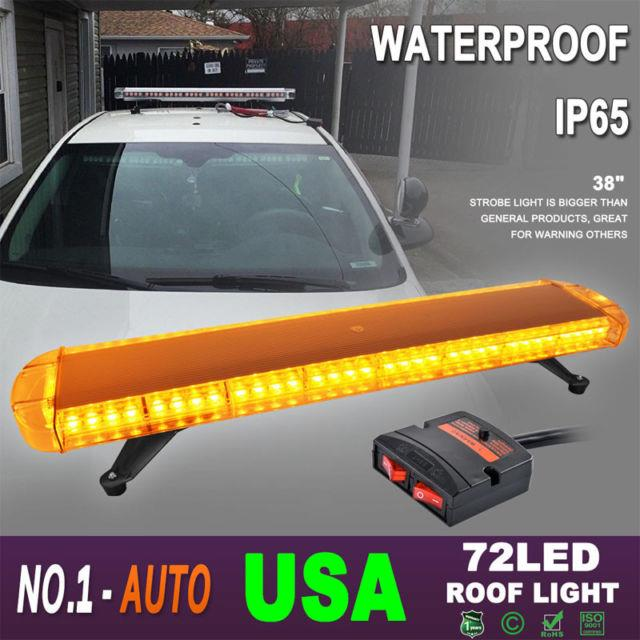 38 72led Tow Truck Roof Emergency Warning Strobe Flash Ligth Bar Amber Yellow