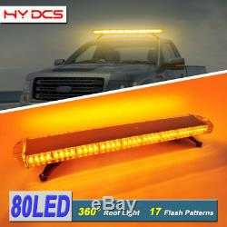 42 Inch 80 LED Strobe Lights Tow Truck Roof Emergency Warning Flash Amber Yellow