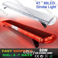 47 88LED Emergency Warning Roof Tow Flash Beacon Strobe Light Bar Red White Red