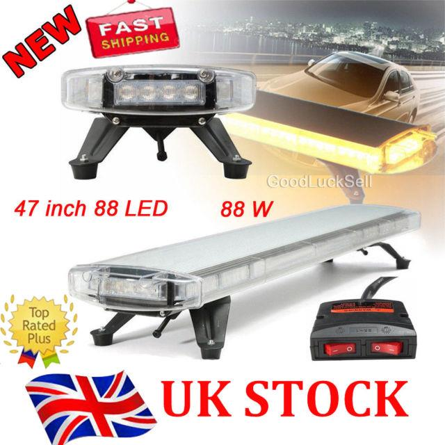 47 88 Led Emergency Strobe Light Bar Lamp For Car Plow Tow Truck Roof Top Amber