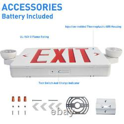 4 Pack LED Exit Sign Emergency Light Hi Output RED Compact Combo UL-Listed