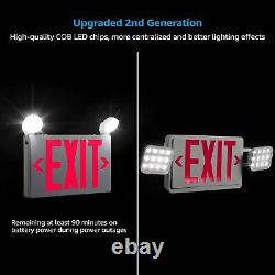 5 Pack LED Exit Sign Emergency Light Hi Output RED Compact Combo UL-Listed
