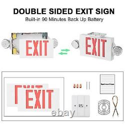 6Pack LED Exit Sign Emergency LightHi Output Compact Combo UL Listed (Red)