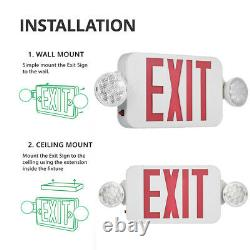 6X Red LED Exit Sign Emergency Light Adjustable Round Head Combo For Office B2V4