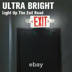 6 Pack LED Exit Sign Emergency Light Hi Output RED Compact Combo UL-Listed