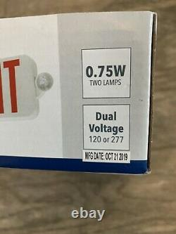 6 Pack Lithonia Lighting Contractor Select White & Red LED Exit Emergency Combo