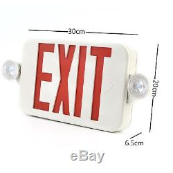 6units LED Exit Sign & Emergency Light Lighitng RED Compact Combo UL924 USA WP