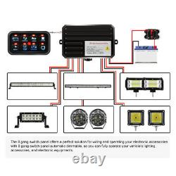 8-Gang Switch Panel Relay Circuit Control System For LED Work Light Bar Pods 12V