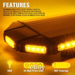 Amber Black Hawk 48 LED Security Warning Roof Top Strobe Light Bar Tow Truck
