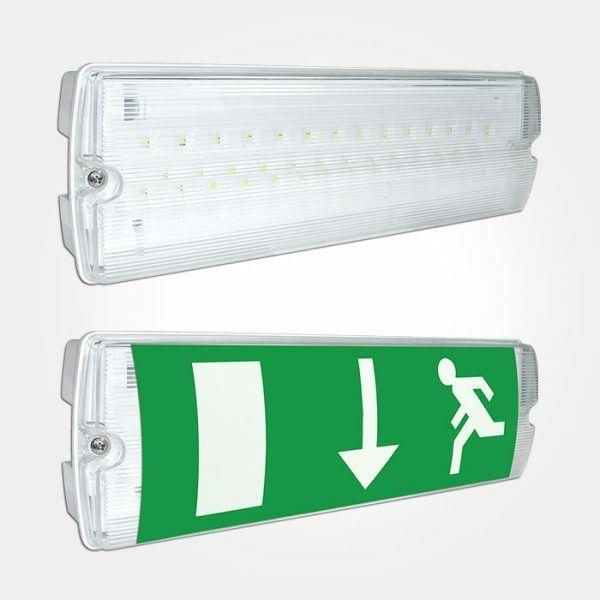 Box Of 10 Led Emergency Light Bulkhead Exit Sign Ip65 Maintained/non Maintained