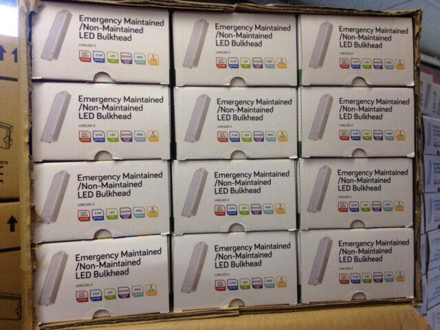 Box Of 12 Led Emergency Light Bulkhead Exit Sign Ip65 Maintained/non Maintained