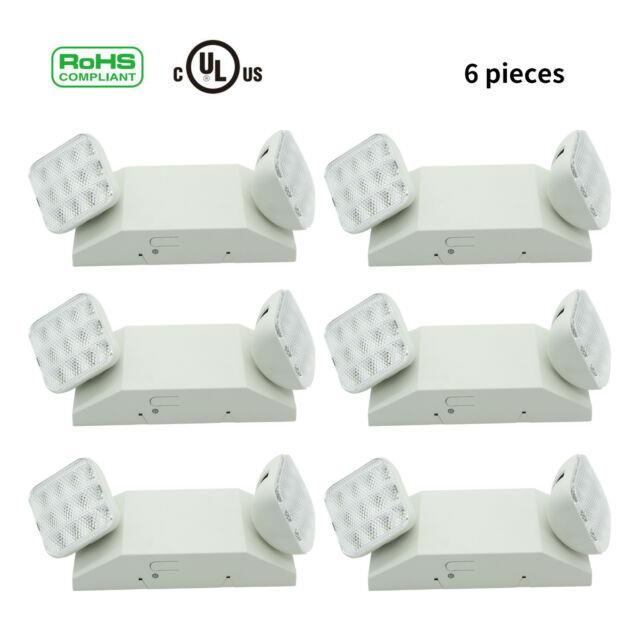 Emergency Exit Light Led Lamp Lighting Fixture Twin Square Heads Univers Indoor