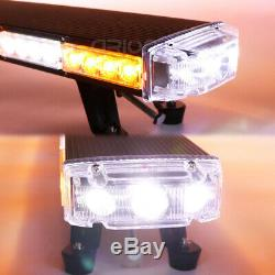Hot 25 to 55 LED Rooftop Warning Strobe Light Bar Plow Tow Truck Amber White