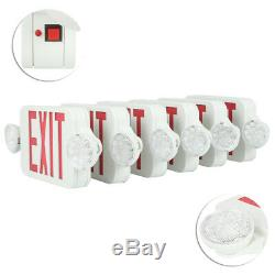 LED EXIT Sign & Emergency Light RED Compact Combo SMD2835 Fire Safety 6 Pack