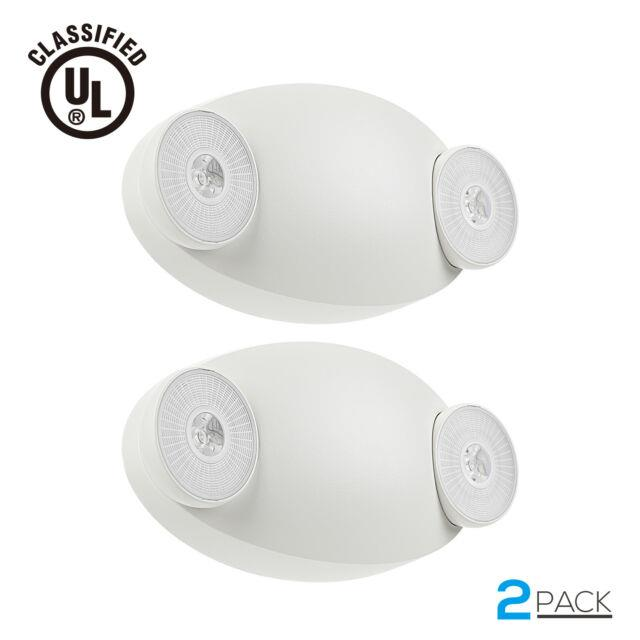 Led Emergency Exit Light Battery Backup & Adjustable Two Round Heads, Ul-listed