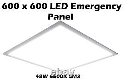 LED Recessed Ceiling Flat Panel Emergency 600 x 600 48W Natural Light 6500K