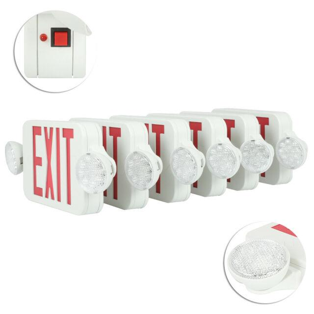 Red Emergency Exit Light Sign Combo Modern 6 Pack Battery Backup Universal Mount