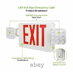Red Exit Sign 120-277V Double Face LED Combo Emergency Light 4 Pack