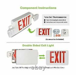 Red Exit Sign 120-277V Double Face LED Combo Emergency Light 4 Pack Lighting New