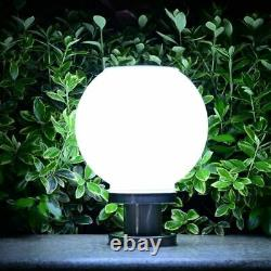 Solar Post Lamp 18 Led Round Ball Stainless Steel Outdoor Ip65 Waterproof Lamps