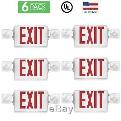 Sunco 6 pack EMERGENCY EXIT SIGN Single/Double Face LED with 2 Head Lights UL