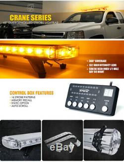 Xprite 48Inch 132 LED Rooftop Strobe Light Bar Amber Roof Warning Yellow Trucks