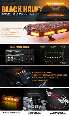 Xprite 48 Rooftop Low Profile LED Strobe Light Bar Emergency Safety Beacon Lamp