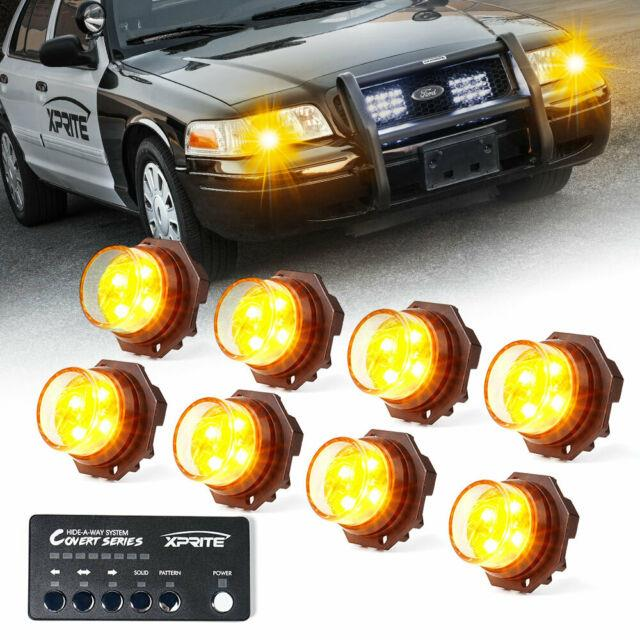 Xprite 8pcs Yellowithamber Led Strobe Lights Kit Hide-a-way Car Emergency Warning