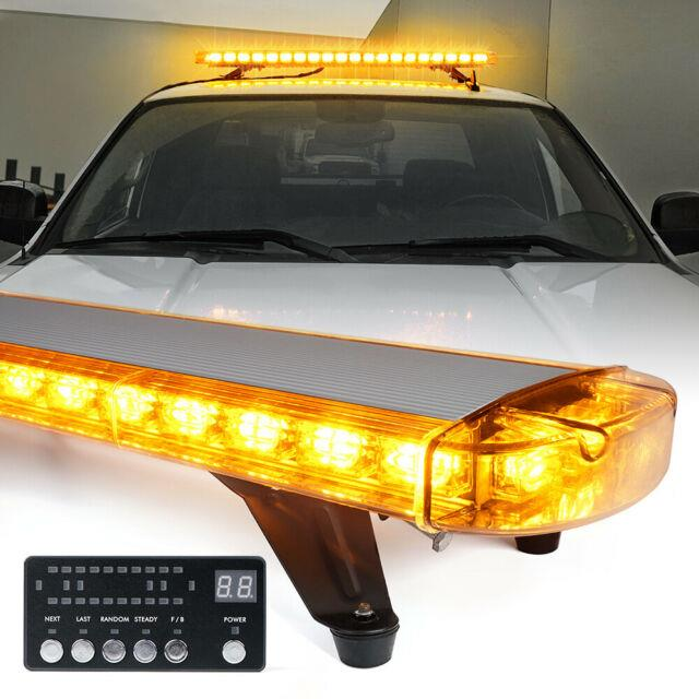 Xprite Amber 48 132 Led Rooftop Strobe Light Bar With Mounting Bracket Yellow